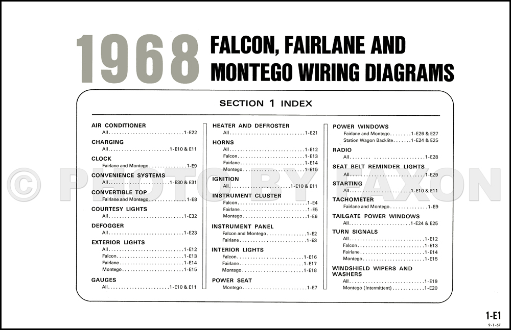 1968 ford falcon fairlane ranchero mercury montego wiring diagram table of contents page