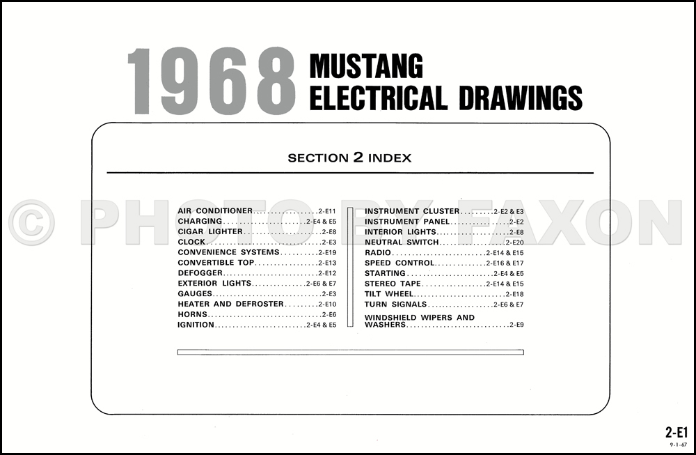 1968 ford mustang wiring diagram original table of contents page