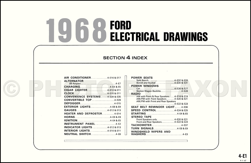 1968 ford galaxie custom and ltd wiring diagram original table of contents page ccuart Image collections