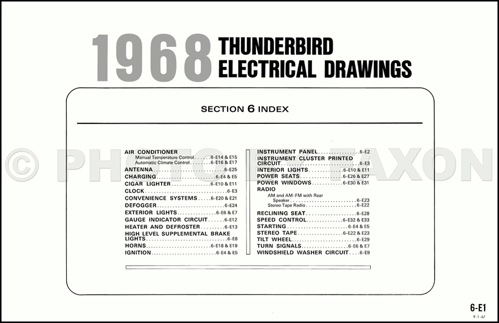 1968 ford thunderbird wiring diagram original table of contents page