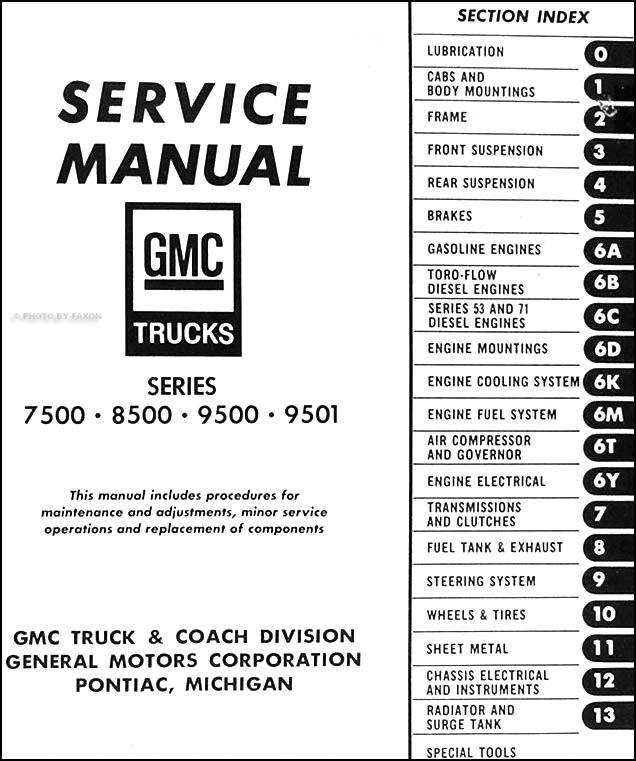 1968GMHDTORM TOC 1968 gmc 7500 8500 9500 9501 repair shop manual original 2004 gmc c7500 wiring diagram at soozxer.org