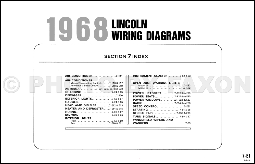 1968 lincoln continental factory wiring diagram original table of contents page