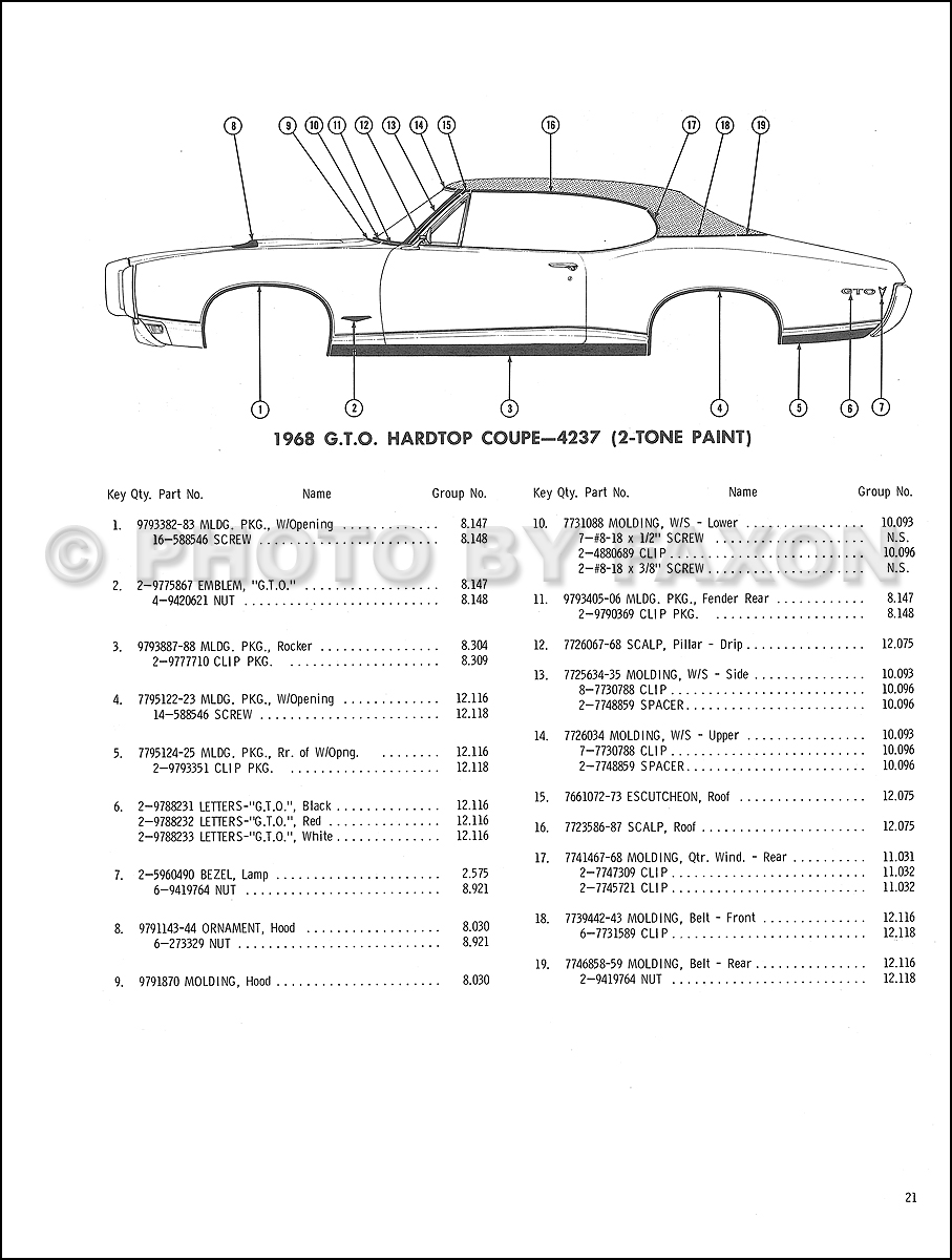 Pontiac Body Molding And Clips Parts Catalog Reprint - 1968 pontiac lemans wiring diagram