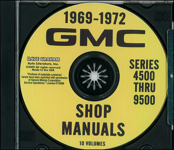 gmc series 4500 6500 service manuals shop owner maintenance 1969 1972 gmc truck 4500 9500 repair shop manuals on cd rom