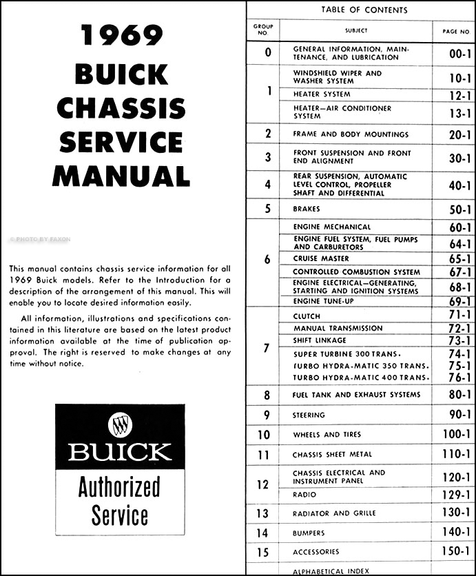 1969BuickORM TOC 1969 buick repair shop manual original gs skylark riviera lesabre 1972 buick riviera wiring diagram at soozxer.org