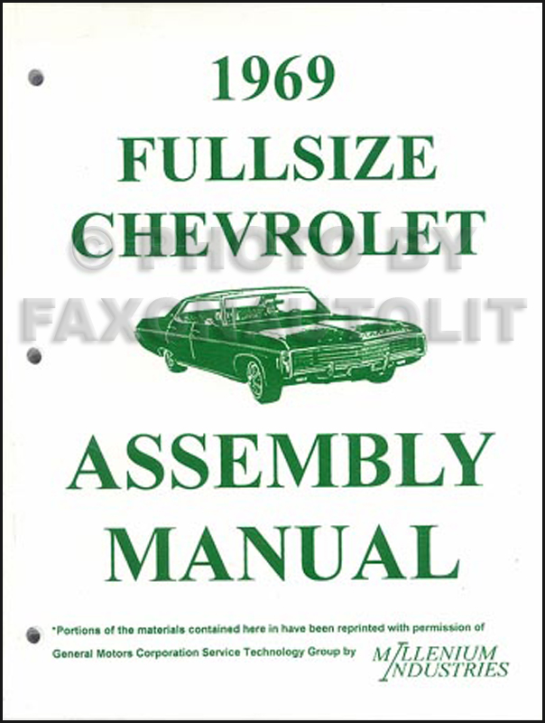 1969 chevy wiring diagram reprint impala ss caprice bel air biscayne 1969 chevy full sized car assembly manual reprint looseleaf