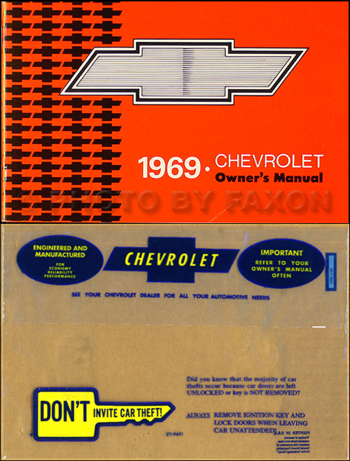 1969 Chevy Owner's Manual Reprint Package Impala, Caprice, Bel Air, SS