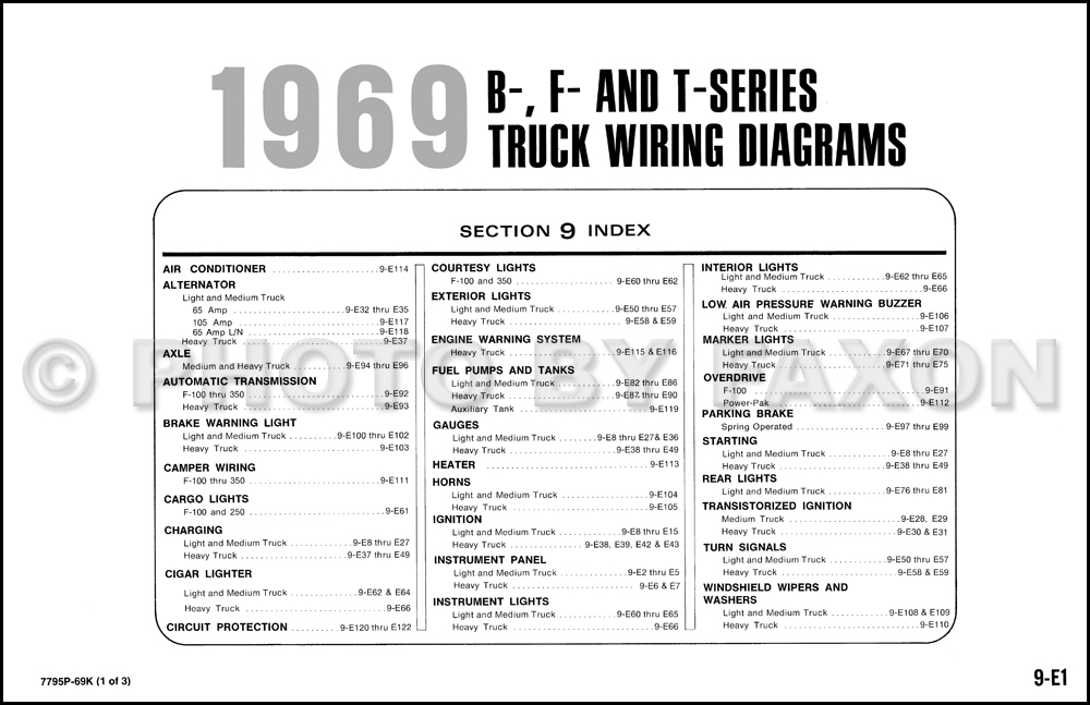 1969 ford b t and f100 f1000 series wiring diagram table of contents page