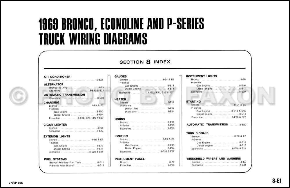 ford bronco econoline and p series wiring diagrams table of contents page