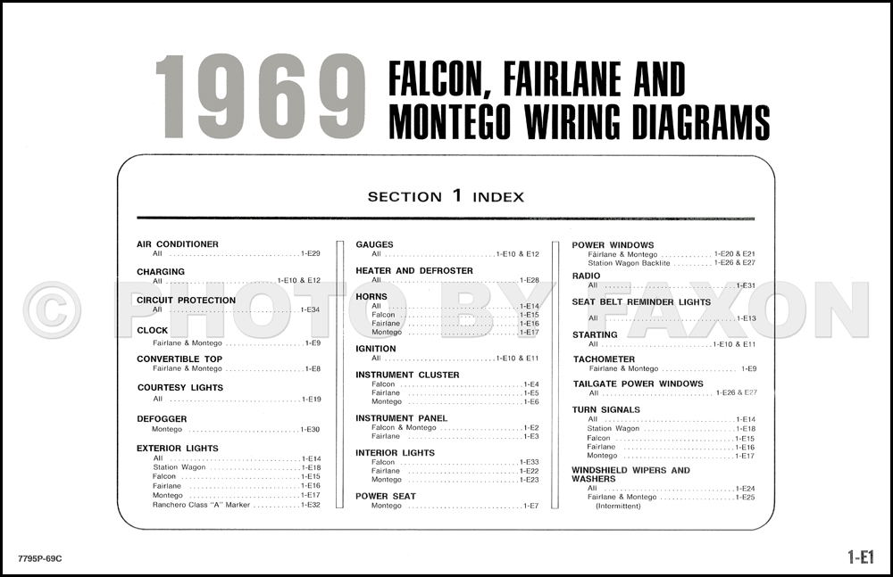 1969FordFalconOWD TOC 1969 ford wiring diagram original falcon fairlane torino ranchero au falcon wiring diagram manual at soozxer.org