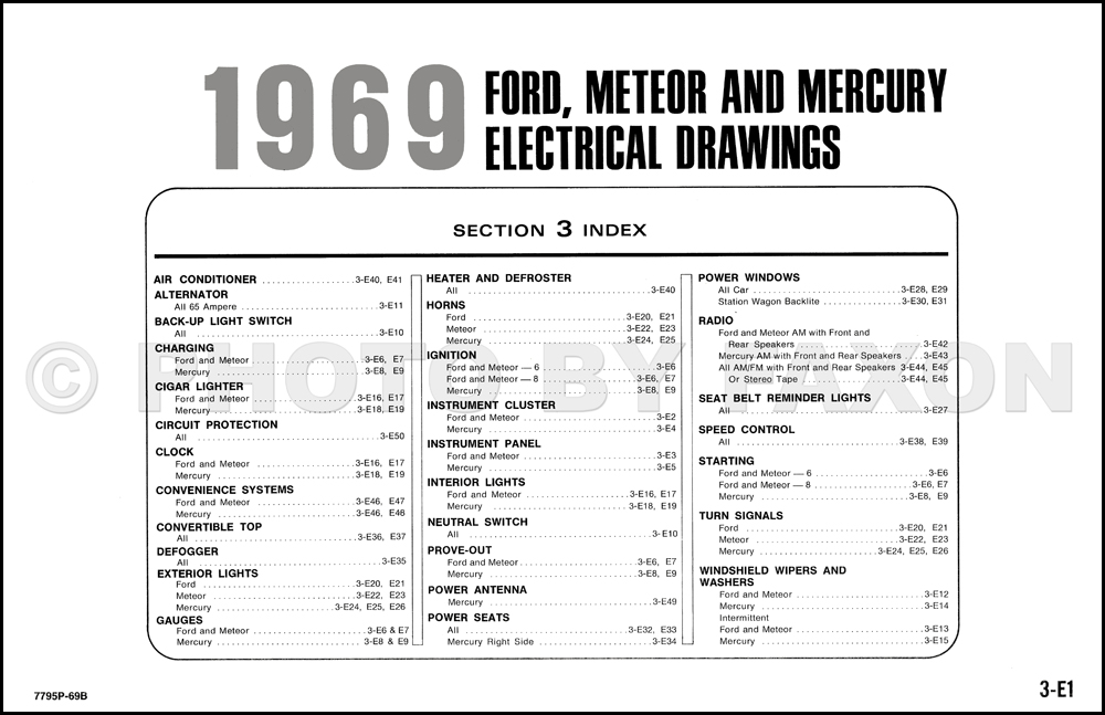 1969FordMercuryOWD TOC 1969 ford and mercury wiring diagram galaxie custom ltd marquis  at eliteediting.co