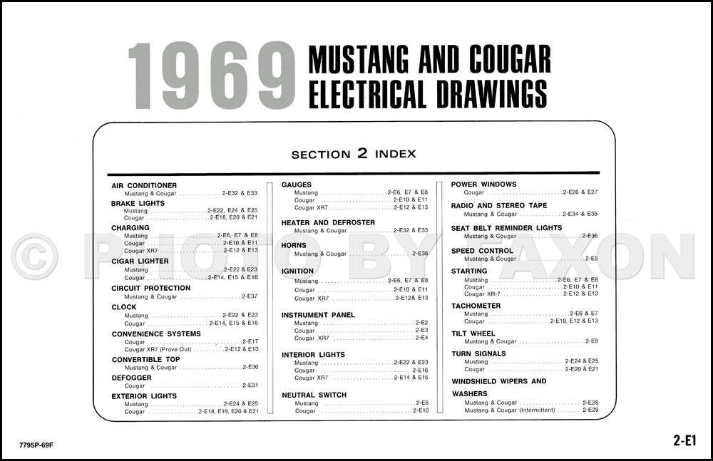 1969FordMustangOWD TOC 1969 ford mustang and mercury cougar wiring diagram original Chevy Ignition Wiring Diagram at crackthecode.co