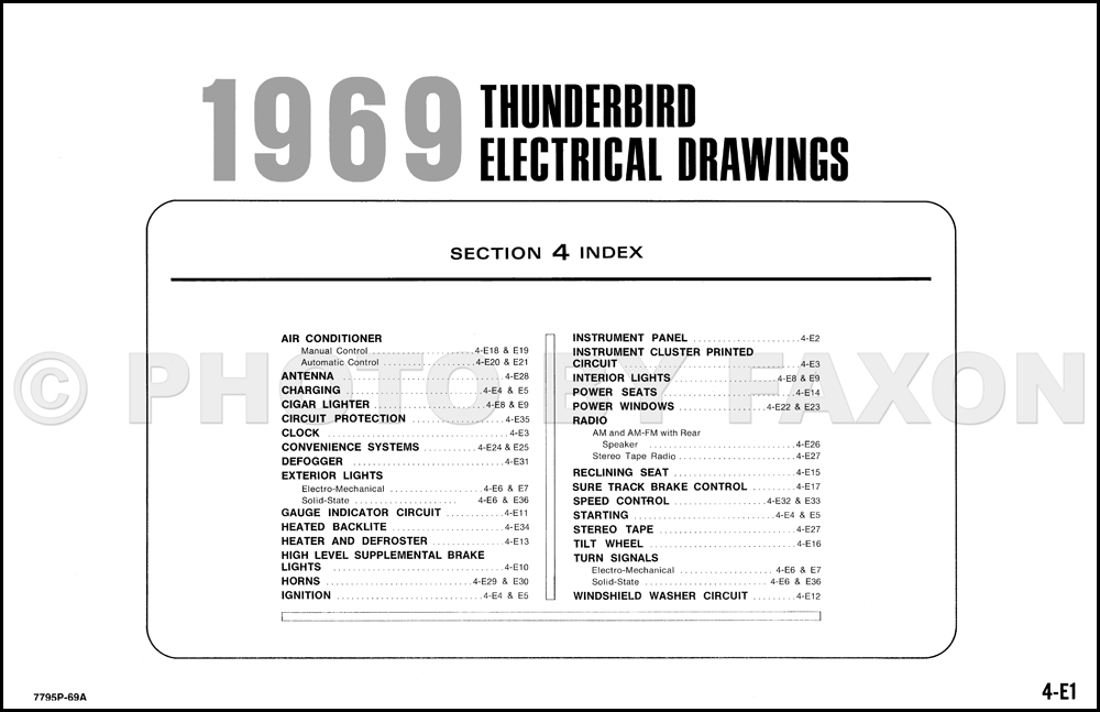 1969 ford thunderbird factory wiring diagram original table of contents page