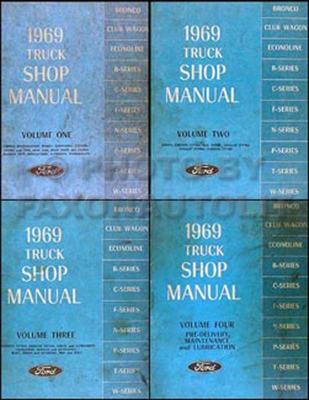 1969 Ford Truck Repair Shop Manual Set Original Pickup Bronco Van and big trucks