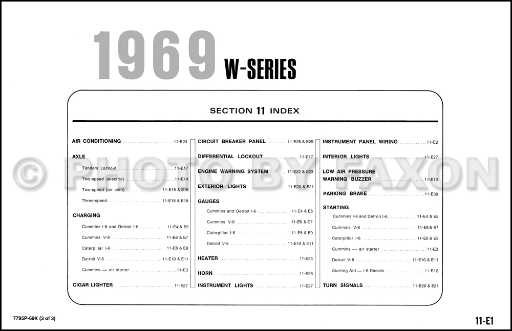 1969 ford w1000 and wt1000 truck wiring diagrams 1969 ford truck wiring diagram #7