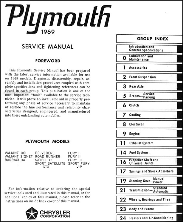 1969PlymouthORM TOC 1969 plymouth repair shop manual original all models 1954 plymouth belvedere wiring diagram at eliteediting.co