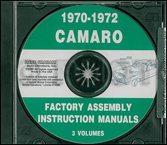 CD 1970-1972 Camaro Factory Assembly Manual including RS, SS, & Z28