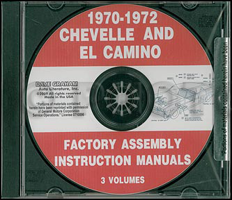 CD 1970-1972 Chevelle Assembly Manual El Camino Monte Carlo Malibu, SS