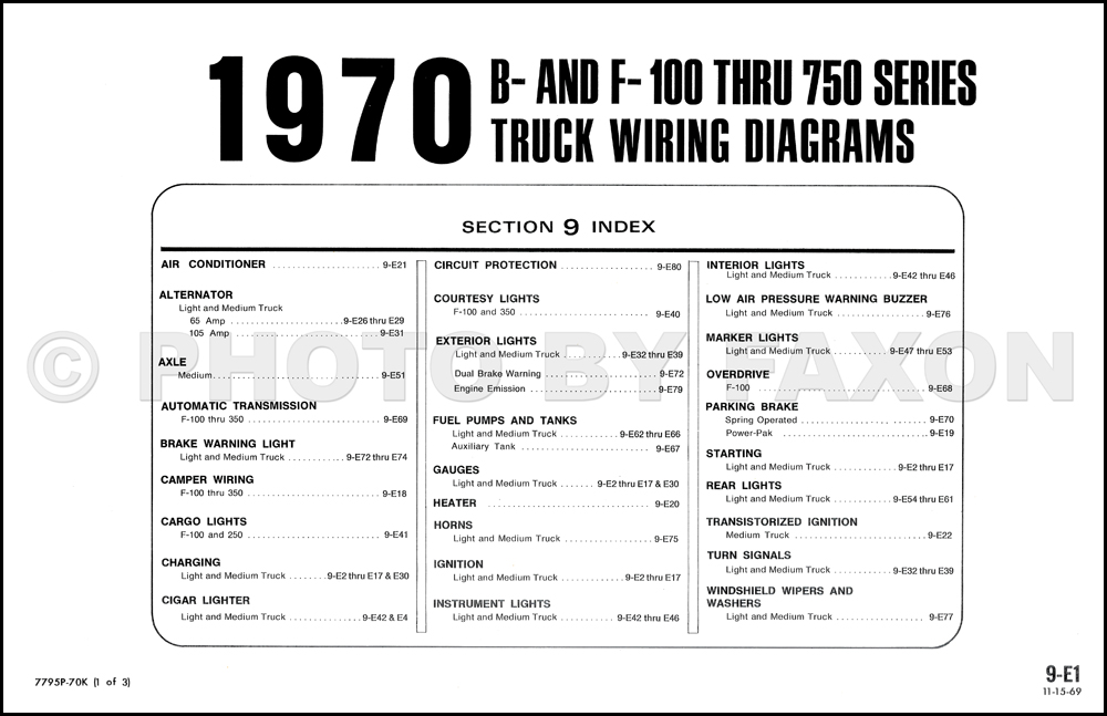 1970 ford b and f100 f750 series foldout wiring diagram table of contents page