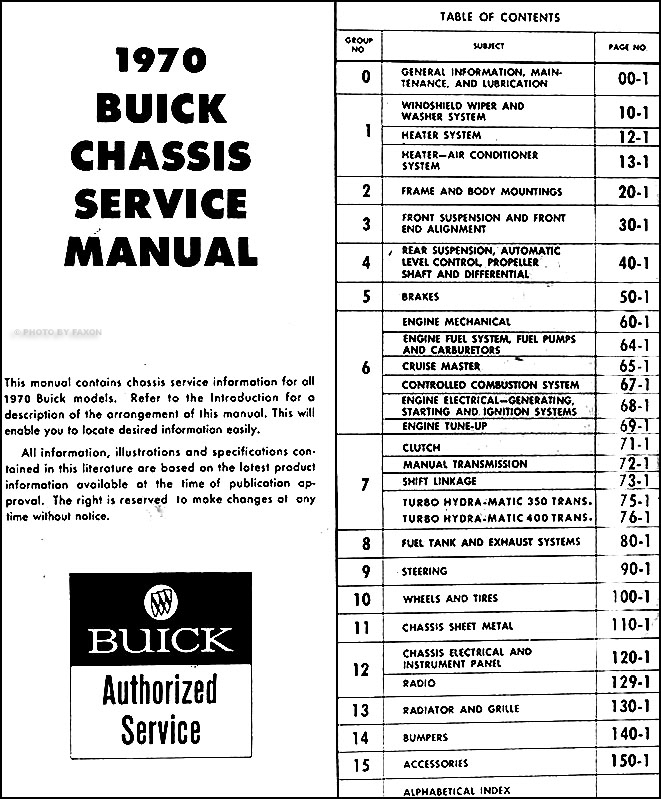 1970 buick repair shop manual original all models table of contents