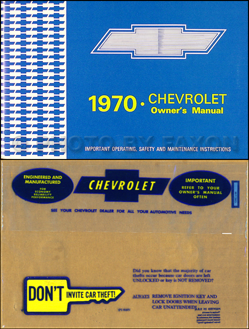 1970 Chevy Owner's Manual Reprint Package Impala, SS Caprice Bel Air