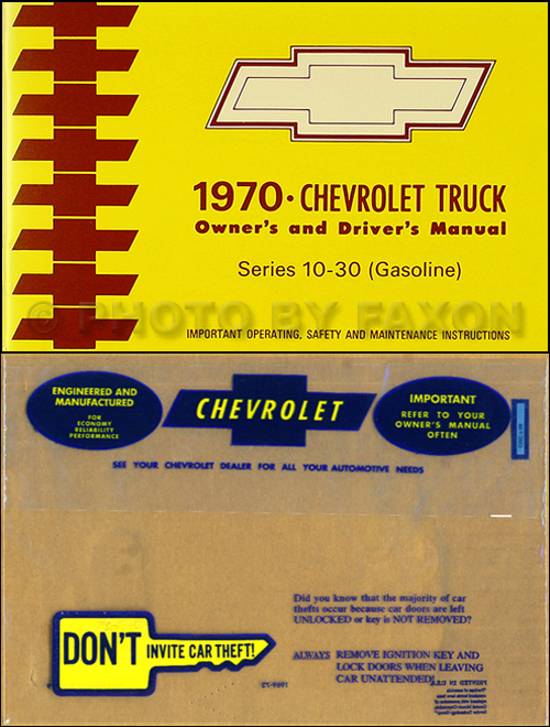 1970 Chevrolet ½-, ¾-, & 1-ton Truck Owner's Manual Package Reprint Pickup/Suburban/Blazer/P-Chassis
