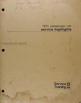1970 Mopar Service Highlights Manual Original