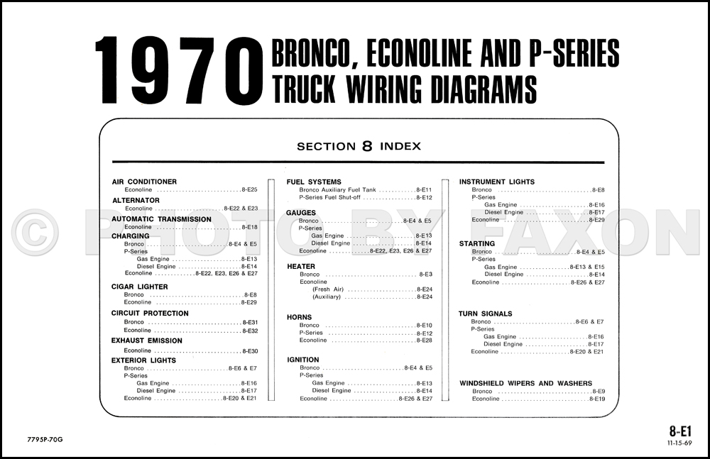 1970FordBroncoOWD TOC 1970 ford bronco, econoline and p series foldout wiring diagrams 1970 ford wiring diagram at soozxer.org