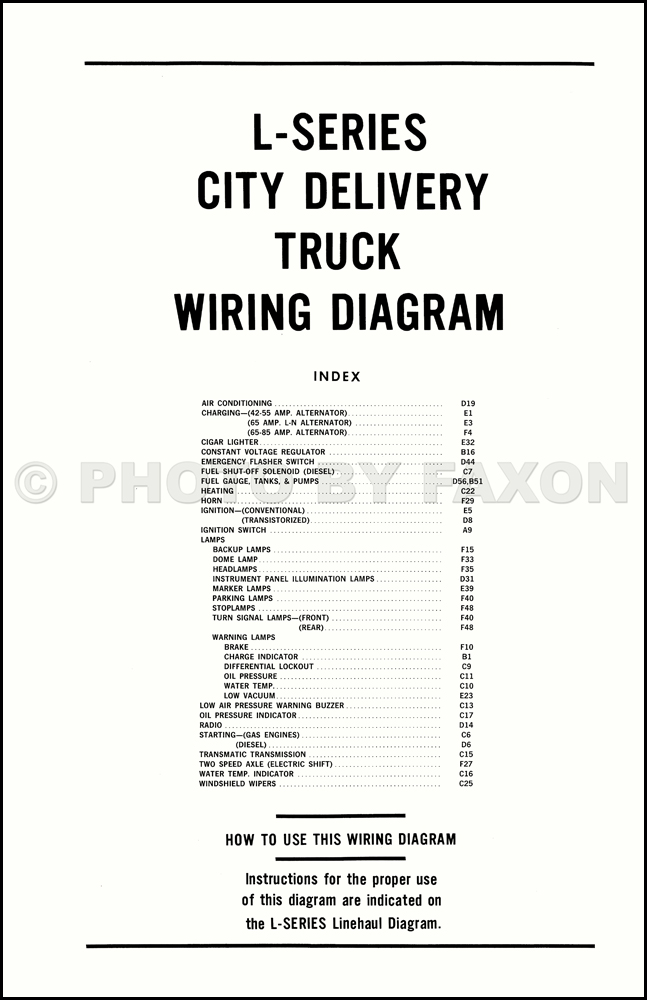 1970 ford l series truck wiring diagram l800 l900 l8000 l9000 table of contents page
