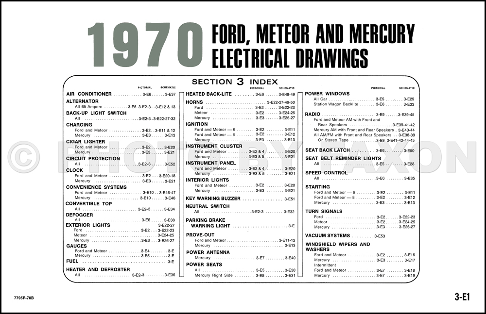 1970 ford mercury wiring diagram original ltd galaxie ... 1970 ford wiring