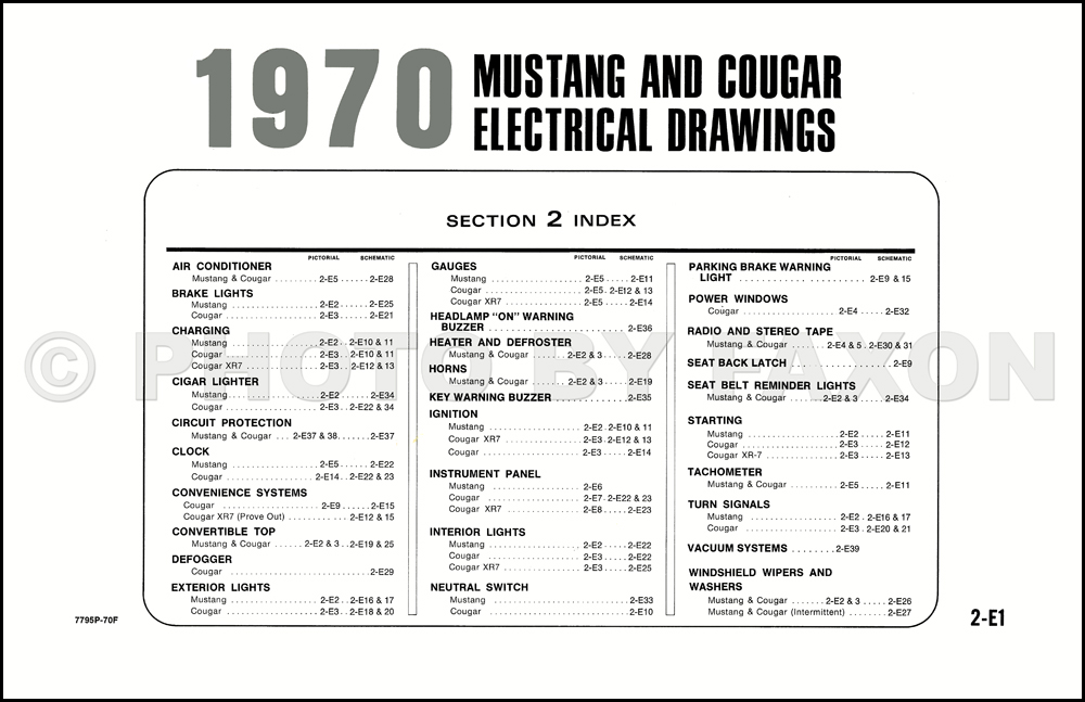 1970 ford mustang mercury cougar factory wiring diagram original table of contents page
