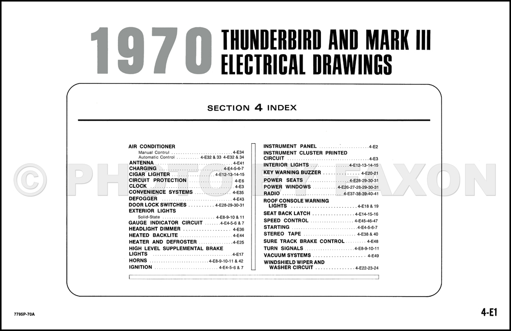 1970 Ford Thunderbird and Lincoln Mark III Wiring Diagram Original