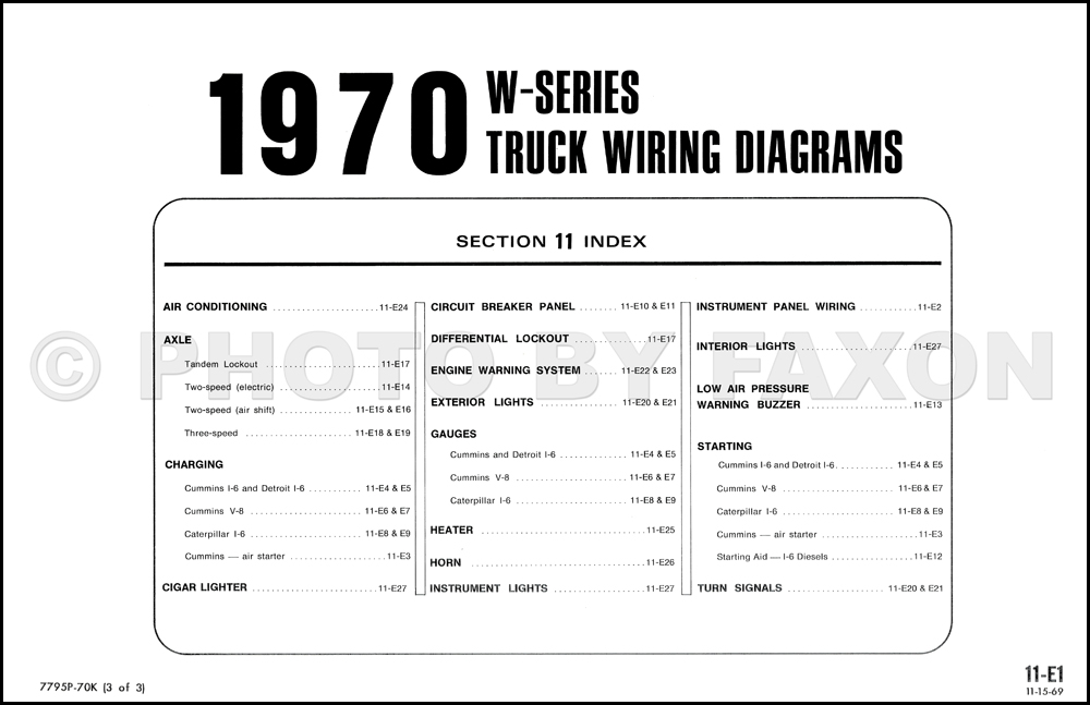 1970 ford w9000 and wt9000 truck foldout wiring diagram 1965 Ford Pickup Wiring Diagram 1970FordWSeriesOWD TOC
