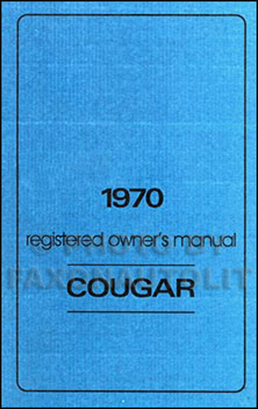 1970 Mercury Cougar Wiring & Vacuum Diagram Manual Reprint