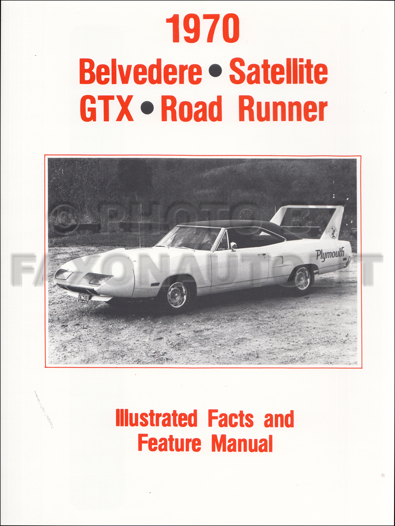 1970 Plymouth Belvedere Roadrunner Illustrated Facts Manual Reprint