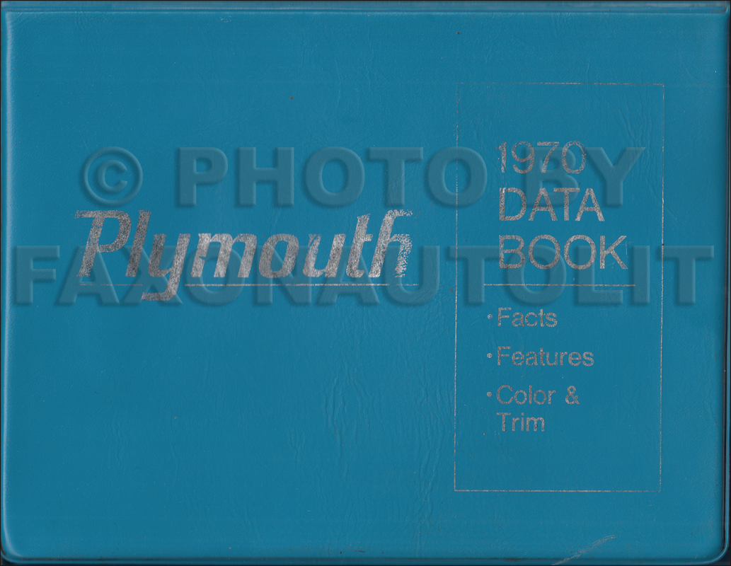 1970 Plymouth Data Book with Color & Upholstery Samples Original