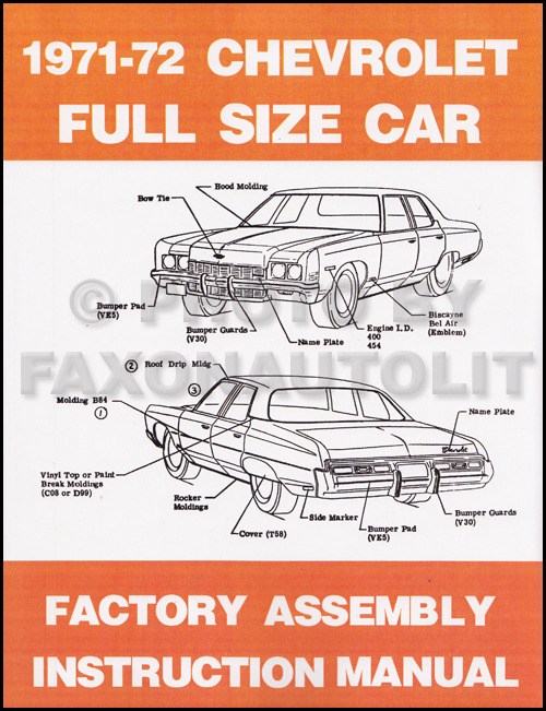 1972 Chevy Car Wiring Diagram Reprint Impala Caprice Bel Air Biscayne
