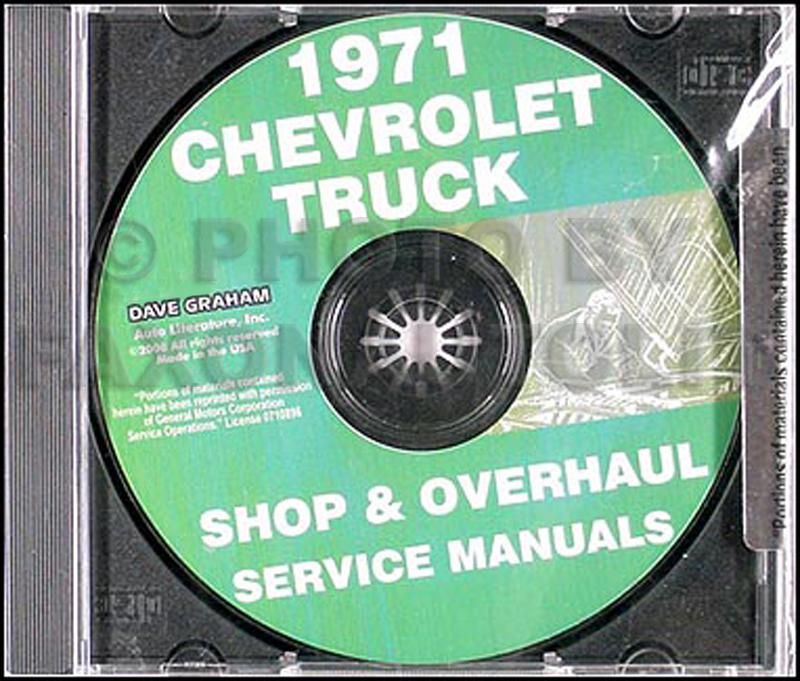 1971 Chevy 10-30 Truck CD Shop Manual & Overhaul Manual