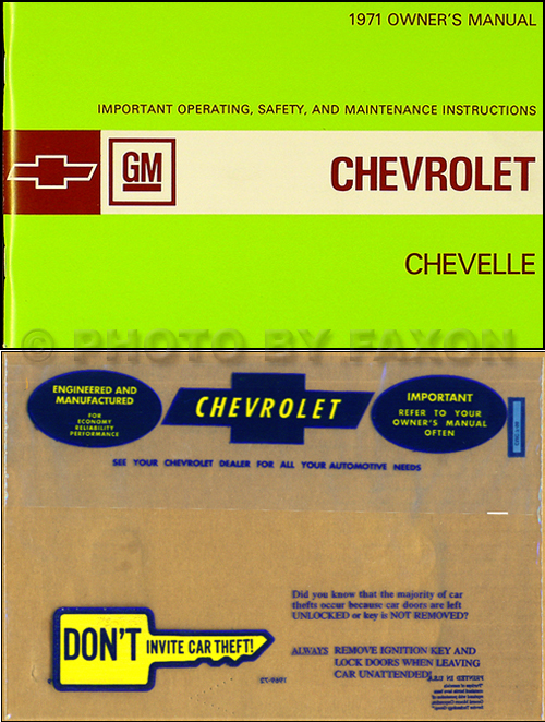 1971 Chevelle, El Camino, Malibu and SS Owner's Manual Package Reprint