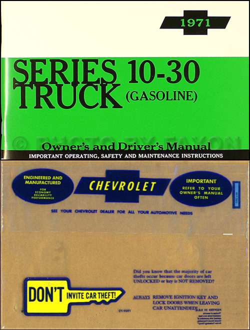 1971ChevyTruckDGROMSet 1971 chevrolet ½ , ¾ , & 1 ton truck owner's manual package reprint