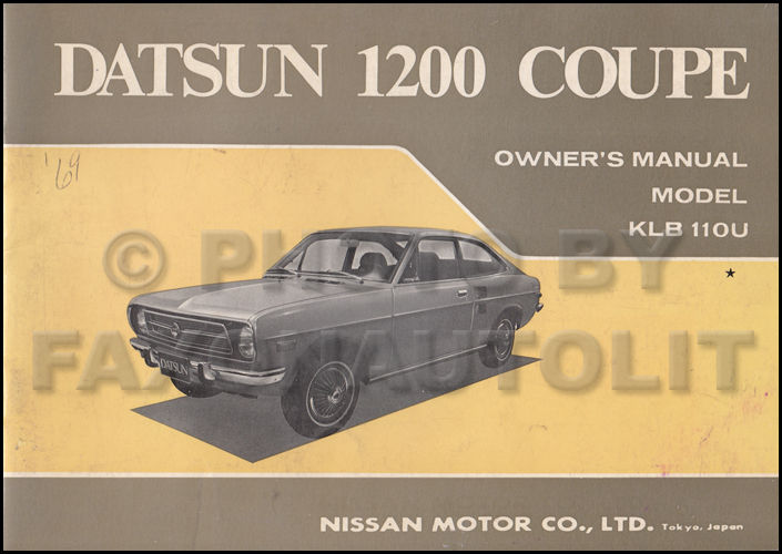 1971 datsun 1200 coupe owner s manual original rh faxonautoliterature com datsun 120y manual datsun 1200 manual gearbox