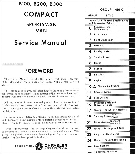 dodge b b b sportsman van repair shop manual table of contents