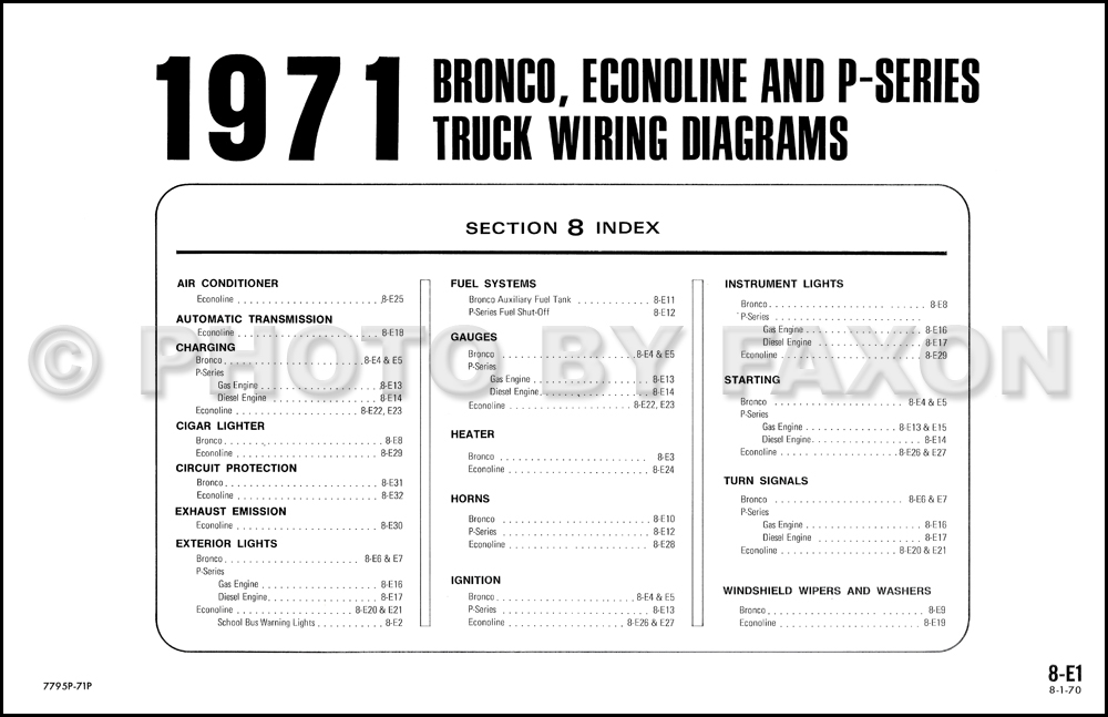 1971FordBroncoOWD TOC 1971 ford bronco, econoline and p series wiring diagram original 1969 ford bronco wiring diagram at couponss.co