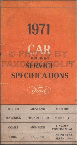1971 Ford Car Lincoln Mercury Service Specifications Manual Original Supplement