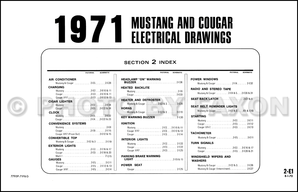 1971FordMustangOWD TOC 1971 ford mustang mercury cougar factory wiring diagram original Ford F-250 Wiring Diagram at soozxer.org