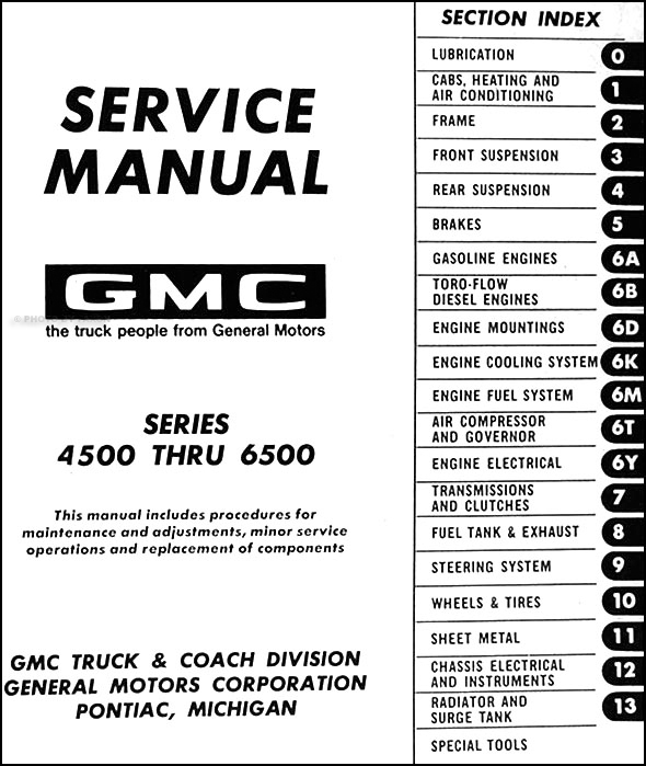1971 gmc 4500 6500 repair shop manual original medium duty. Black Bedroom Furniture Sets. Home Design Ideas