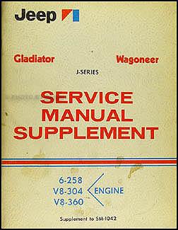 1971 Jeep Gladiator & Wagoneer Shop Manual Original Supplement