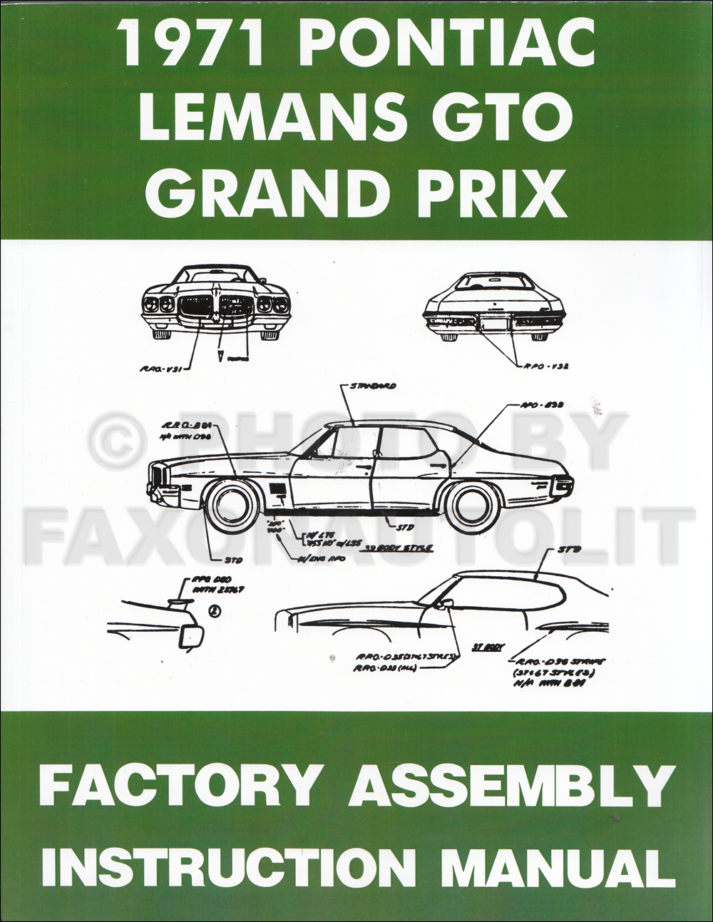 1971 Pontiac Assembly Manual Reprint  - GTO, Grand Prix, LeMans