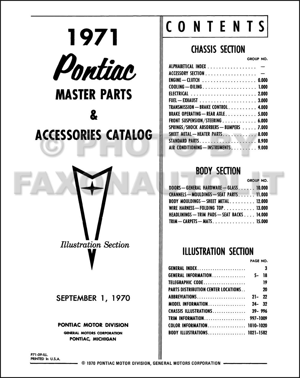 1964 1971 Pontiac Mechanical Parts Book Reprint Set Grand Prix Wiring Harness