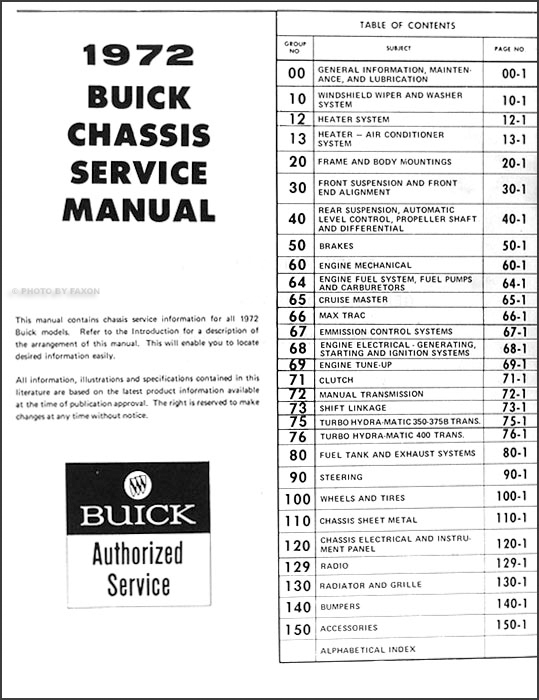 1972 buick repair shop manual original gs  skylark  riviera